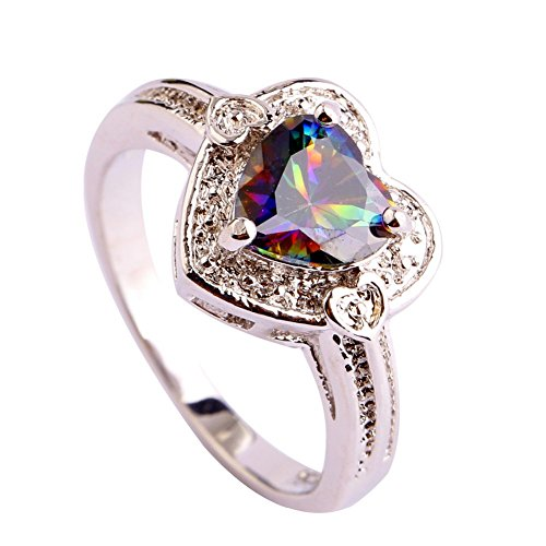 PSRINGS Unisex Claddagh Rings Heart Mysterious Rainbow White Created Topaz Silver Ring PRECIOUS JEWELRY 8.0