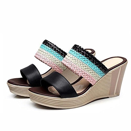 The L Thick Drag Slope black Heel High Sandals Girls Shoes The Waterproof Summer Women YC 39 Word Thick Of Size With Platform BffqwOdp