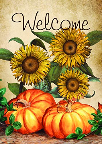 Lantern Hill Welcome Sunflowers and Pumpkins Autumn Garden Flag; Double Sided; 12.5 x 18 inches; Fall Seasonal Decorative Banner ()