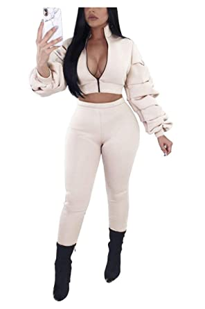 bd6c339ca1c4 PrettySoul 2 Piece Outfits for Women Clubwear - Long Sleeve Solid Zipper  Front Jacket and Pants Set Tracksuit at Amazon Women s Clothing store