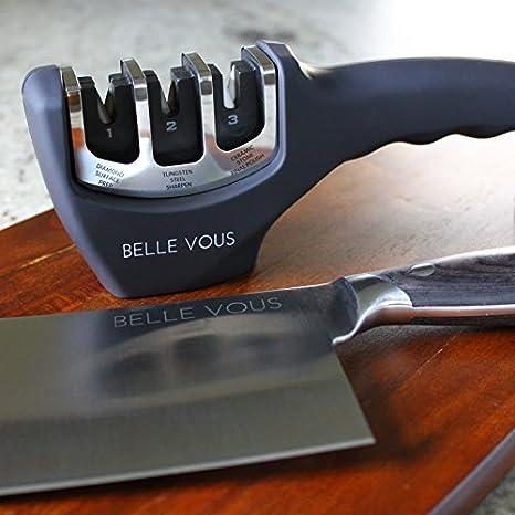 Belle Vous Afilador de Cuchillos - Sistema Profesional de Afilado en 3 Etapas Diamante, Tungsteno y Cerámica - Afila Cuchillos a los Niveles de Chef - ...