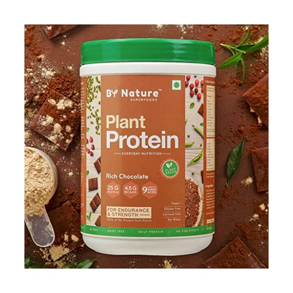By Nature Plant Protein Powder, 500g (Rich Chocolate) for Women & Men, Pea + Brown Rice + Mung Bean Protein, Vegan, All… 2021 July A COMPLETE PROTEIN – By Nature Plant Protein provides 25 grams of high-quality protein, including all the nine essential amino acids & 4.5 grams of BCAAs, per serving (33g). Suitable for both Women & Men. HIGH-QUALITY PLANT PROTEIN BLEND – Our unique Plant Protein blend is a fusion of the finest sources of plant protein - Pea Protein Isolate, Brown Rice Protein Isolate & Mung Bean Protein Concentrate, along with antioxidant & digestive blends. ENDURANCE AND STRENGTH – Our blend also consists of antioxidants superfoods like Turmeric Extract, Piperine, Berry Extract, Papain & Bromelain that promote muscle recovery and are a natural source of micronutrients and phytonutrients for faster recovery. The digestive enzymes extracted from pineapples and papayas facilitate a faster breakdown of proteins that improve gut health and effective digestion.