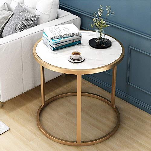 Oanzryybz Marmol Mesa de cafe, mesas Redondas Tabla de te Moderna del Lado del sofa Mesa con laton Marco metalico mesas de luz Extremo pequeno Tabla for el hogar, Sala de Estar, Comedor