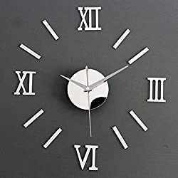 3D Mirror Surface Roman Numerals Wall Clock Stickers Home DIY Decor (Silver)