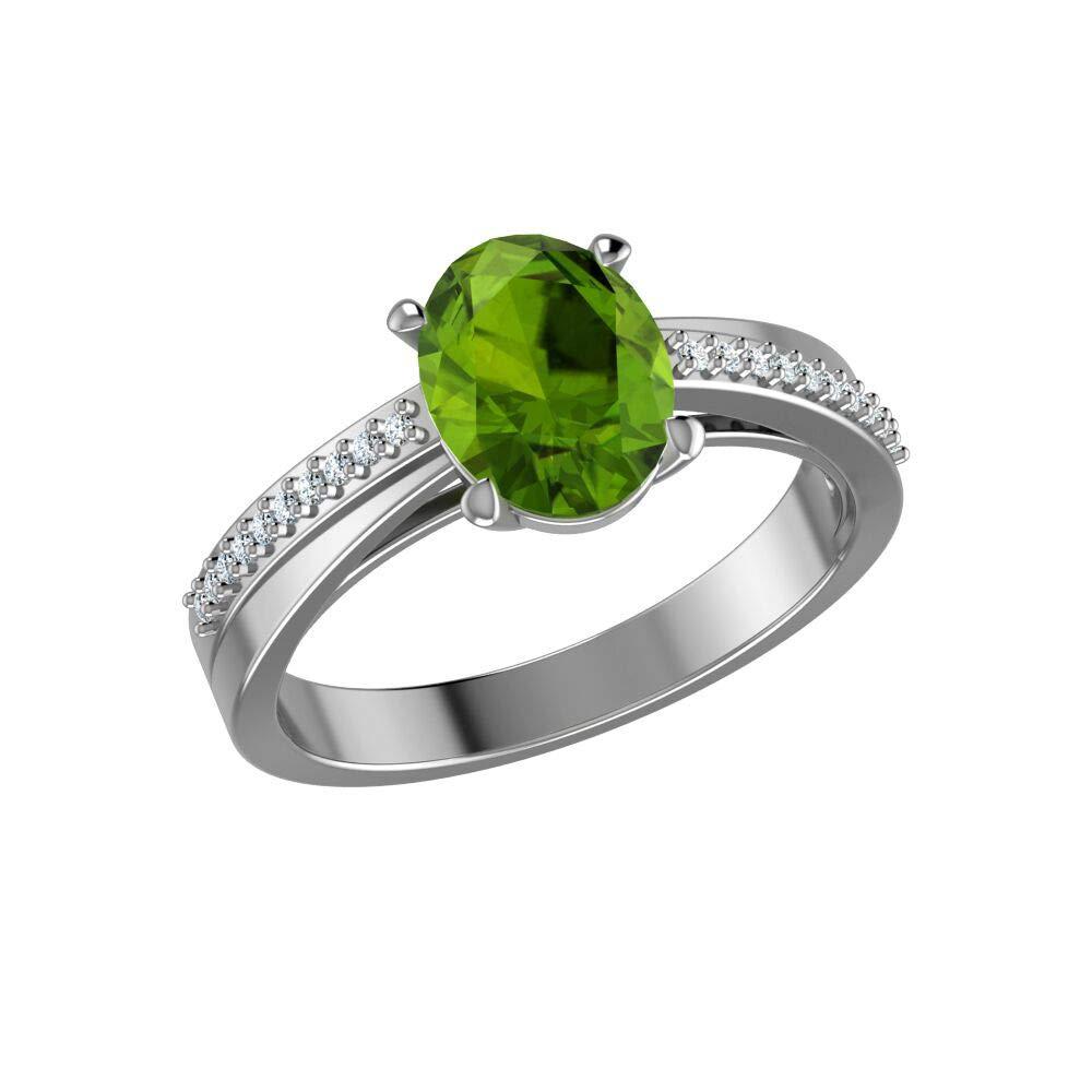 Belinda Jewelz Fine Rhodium Plated Real 925 Sterling Silver Oval Cut Shape Prong Settings Gemstone White Topaz Band Womens Jewelry Engagement Wedding Promise Ring, 1.7 Carat Green Peridot, Size 6.5
