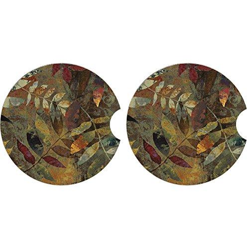 toneware Car Coaster Set,Ceramic Auto Cup Holder Coaster (Autumn leaves) (Stoneware Car Coaster)