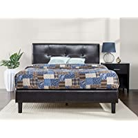 Zinus Faux Leather Detail-Stitched Platform Bed with Wooden Slat Support, Full