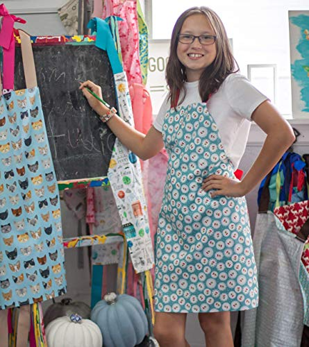 Handmade Tween Girl Cherry Print Apron Gift for Art Kitchen Crafts from Sara Sews