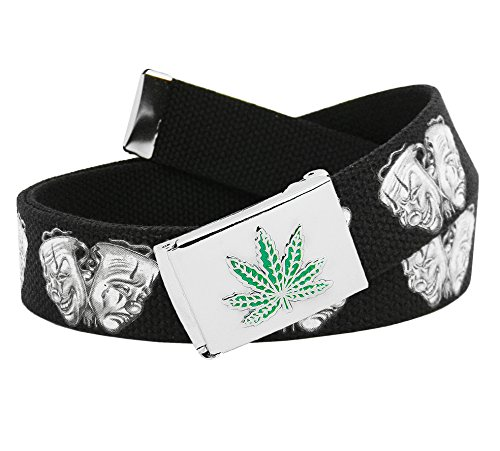 Men's Silver Flip Top Embossed Weed Leaf Belt Buckle with Printed Canvas Web Belt Medium Smile Now Cry Later Print - Printed Canvas Belt