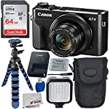"""Canon PowerShot G7 X Mark II Digital Camera Deluxe Bundle Includes - 12"""" Gripster, Point N Shoot Case, Sandisk 64GB Ultra Memory Card, 36 LED Light Kit and More"""