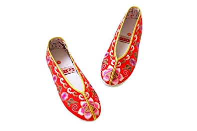 Women Slip On Casual Flat Espadrilles Shoes - Handmade Sole Comfy Silk Brocade #113 Red