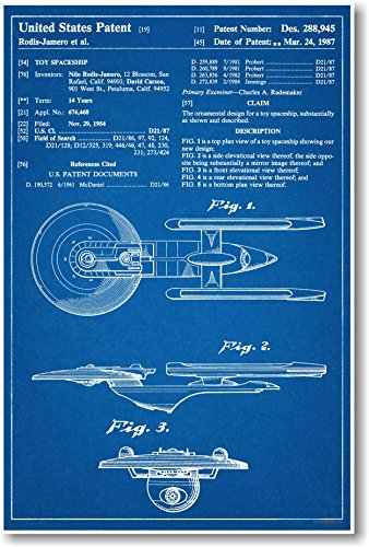 Star Trek Spaceship Enterprise Patent - NEW Famous Invention Blueprint Poster