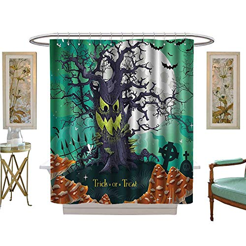 Leigh R. Avans Shower Curtains with Shower Hooks Trick or Treat Halloween Theme Dead Forest with Spooky Tree GravesMushrooms Satin Fabric Sets Bathroom (Tie Leigh Silk)