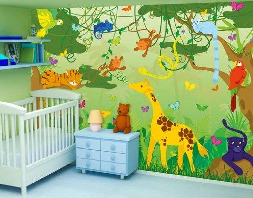 Fototapete Tiere Und Lustiger Dschungel Fur Das Kinderzimmer Grosse