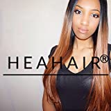 Heahair Ombre Dark Root Brown Straight Handtied Synthetic Lace Front Wig for Black Woman