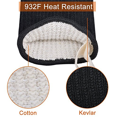 HnjPama BBQ Mitts(1 Pair) up to 500℃ (932F)- EN407 certified, cooking gloves/oven gloves/baking gloves, silicone aramid fibers, mitts for barbecue, kitchen, oven,microwave oven by HnjPama (Image #3)