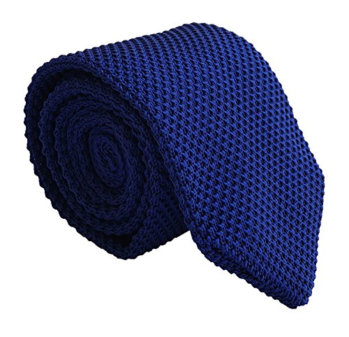 Men Royal Blue Slim cut Knit Neck Ties Unique Fashion Winter Necktie for Husband