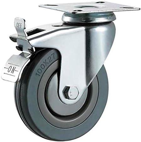 Montaje en placa superior color gris M/áximo 200 kg por juego Ruedas Bulldog de alta resistencia Ruedas de goma dura con frenos que no dejan marcas 75 mm