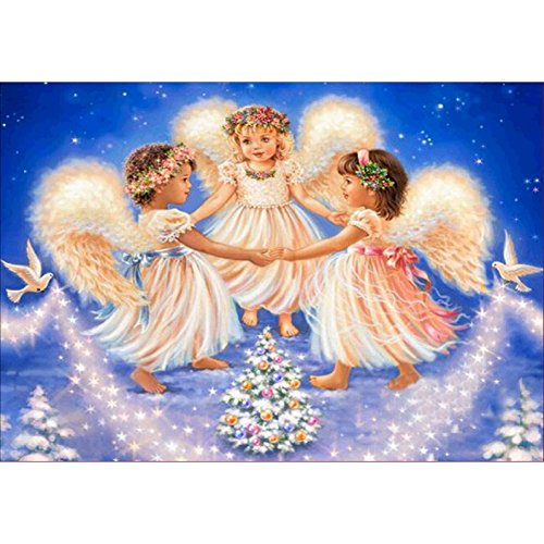 Smartcoco 5D DIY Christmas Diamond Painting 3 Angels Cross Stitch 3D Diamond Mosaic Embroidery Wall Craft Decor 15.7