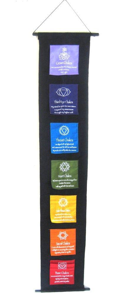 "OMA 7 Chakra Meditation Banner Prayer Flag Balance Hanging Large, 60"" Long"