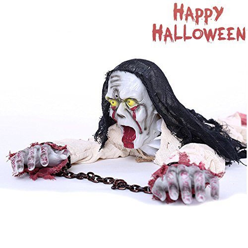 Halloween Crawling Zombie with Sensor Control Flashing Red Eyes Spooky Scary Halloween Prop Haunted House Decoration -