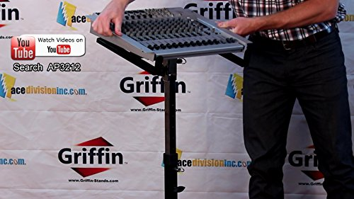 Mobile Studio Mixer Stand DJ Cart by Griffin | Rolling Standing Rack On Casters with Adjustable Height|Portable Turntable | Protect Your Digital Audio Gear and Music Equipment|Heavy Duty Construction by Griffin (Image #6)