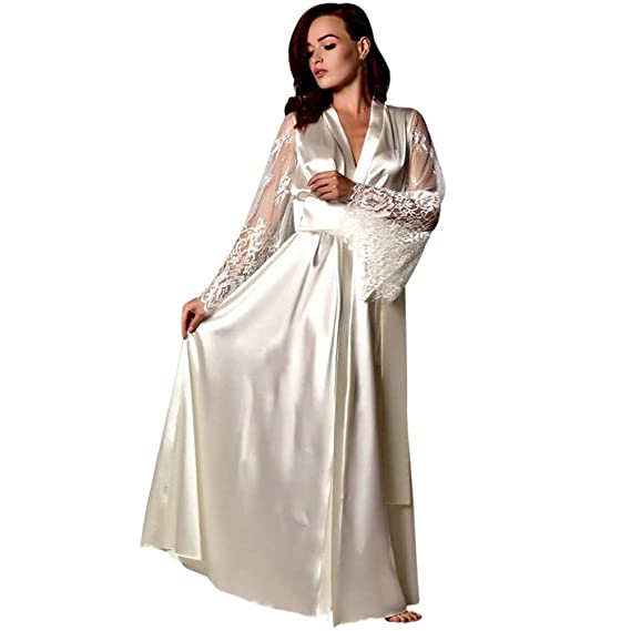 Amazon.com: Lingerie,Clearence Womens Lingerie KpopBaby Satin Long Nightdress Silk Lace Nightgown Sleepwear Sexy Robe Embroidery Bras Set: Clothing