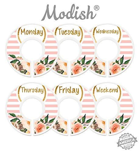 Modish Labels Daily Clothes Organizers, Days of Week Closet Dividers, Closet Organizers, School Supplies, Work Week Clothes Organizer, Girl, Flowers, Pink, Stripes (Days)