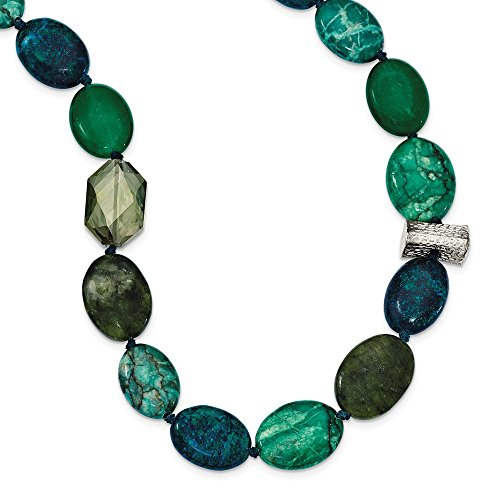 (925 Sterling Silver Jade Crystal Jasper Serpentine 2 Inch Extension Chain Necklace Pendant Charm Natural Stone Fine Jewelry Gifts For Women For Her)