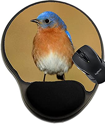MSD Mousepad wrist protected Mouse Pads/Mat with wrist support Male Eastern Bluebird Sialia sialis on a perch with a brown background Image 35755416 Customized Tablemats Stain Resistance Collector Ki