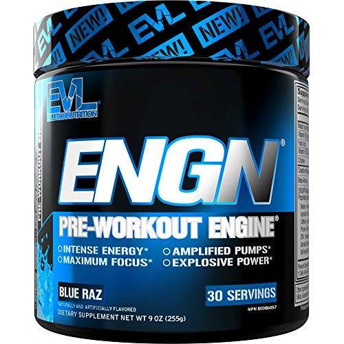 Evlution Nutrition ENGN Pre-Workout, Pikatropin-Free, 30 Servings, Intense Pre-Workout Powder for Increased Energy, Power, and Focus