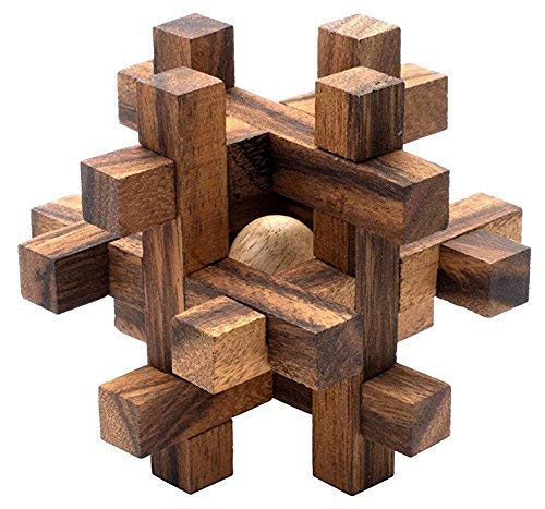 Lock-a-Ball: Handmade & Organic 3D Brain Teaser Wooden Puzzle for Adults from SiamMandalay with SM Gift Box(Pictured)