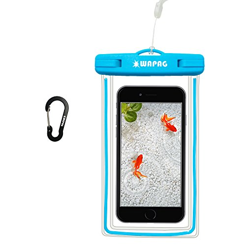 WAPAG Waterproof Bag Pouch Fluorescence Case for iPhone 7 6 Plus 6S 5SE Samsung Galaxy s7 Edge HTC 10 LG G5 Huawei P9 Water Snow Dirtproof for Surfing Diving Skiing Kayaking Snowboard IPX8 (Blue)