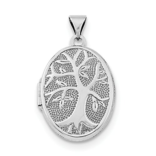 ICE CARATS 925 Sterling Silver 21x16mm Oval Tree Photo Pendant Charm Locket Chain Necklace That Holds Pictures Fine Jewelry Gift Valentine Day Set For Women Heart 16 Mm Oval Locket