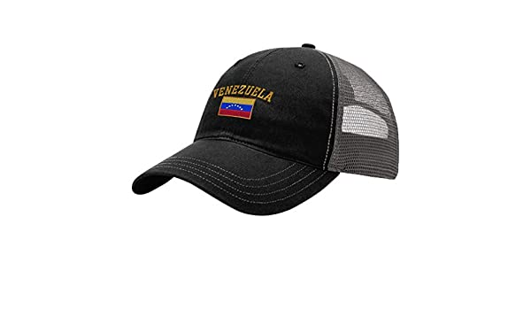 Amazon.com: Speedy Pros Venezuela Flag Embroidery Design Richardson Cotton Front and Mesh Back Cap Black/Charcoal: Clothing