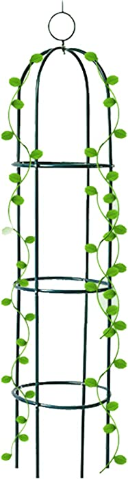 Tower Obelisk Garden Trellis Plant Support for Climbing Vines and Flowers Stands 6.3 Feet Tall,Black Green Lightweight Plant Tower
