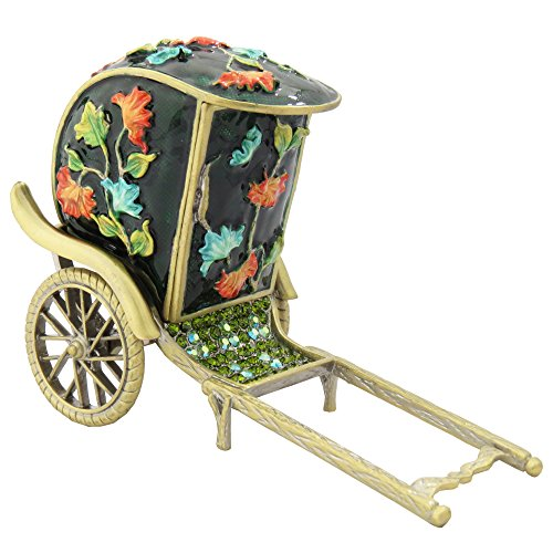 Crystalized Maroon Pine Green Rickshaw Cart Gift Antique Collectible Figurine Trinket Jewelry Box