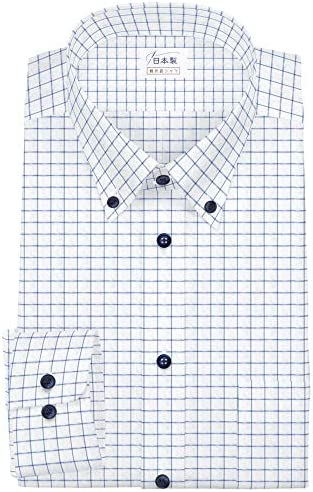 ワイシャツ 軽井沢シャツ [A10KZBA49]ボタンダウン COOLMAX 吸水速乾 ホワイトサッカードビーストライプ地ネイビーチェック らくらくオーダー受注生産商品