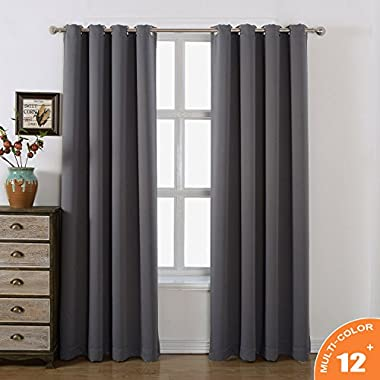 AMAZLINEN Toxic Free 52 W X 84 L Inch Grommet Top Blackout Curtains for Bedroom Thermal Insulated,Set Of 2 Panels With Bonus Tie Back (Charcoal Grey)