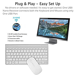 Wireless Keyboard, Attoe Ultra Slim Compact Portable 2.4G Wireless Keyboard and Ergonomic Mouse Combo with Nano Receiver for Windows XP/Vista/7/8/10, Laptop, Notebook, PC, Desktop, Computer (Silver)