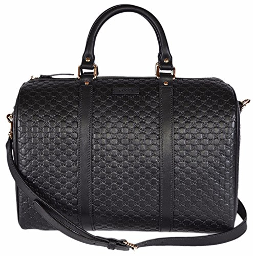 Gucci-Womens-Leather-Micro-GG-Guccissima-Convertible-Boston-Satchel-Handbag-Black