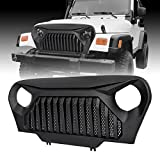 jeep wrangler grill cover - ICARS Front Matte Front Gladiator Grille Cover Vader Grill w/ Mesh Inserts for 1997-2006 Jeep Wrangler TJ & Wrangler Unlimited