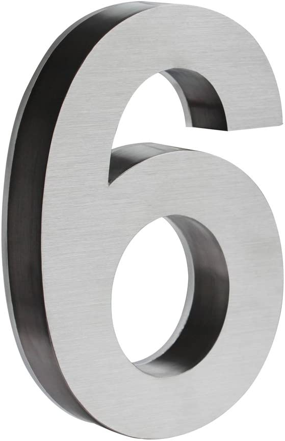 LED Light Stainless Steel House Number Arial 3D Outdoor Wall Plaque 18 cm V2Aox Nummer:5