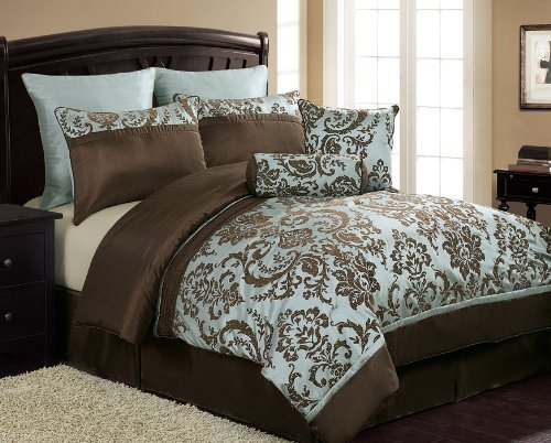 Lovely Chocolate Brown And Blue Bedding: 8 Piece Flocked Comforter Set Que.