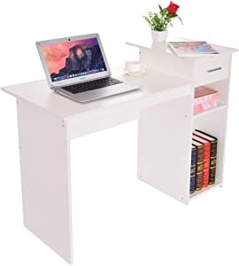 "41"" Writing Computer Desk Office Desks, Student Study Desktop Desk Laptop Table Modern PC Workstation Dormitory Study Desk with Bottom Storage Shelves and Drawers (White)"