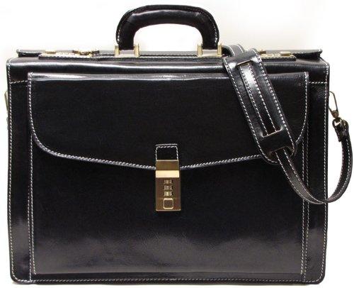 Floto Roma Litigator Briefcase in Black Italian Calfskin Leather