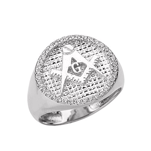Solid 14k White Gold Masonic Men's Diamond Ring(Size 7.5)