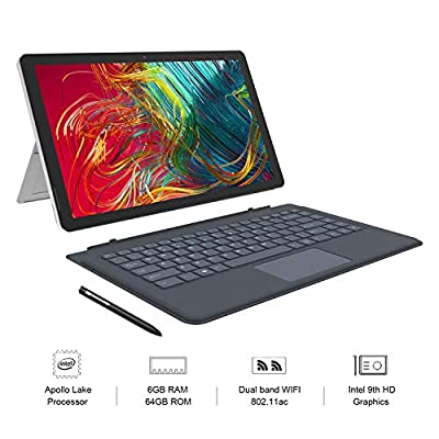 "XIDU 13.3"" PhilPad 2 in 1 Laptop Tablet IPS Touchscreen 2K (2560X1440) Intel Dual-Core 6GB RAM 64GB ROM, Metal Body, WiFi, Bluetooth, Lightweight, USB Type-C, Detachable Keyboard, Stylus Pen"