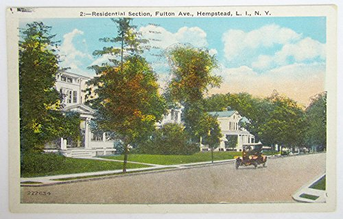 1932 Vintage Postcard Residential Section Fulton Ave Hempstead Long Island N Y