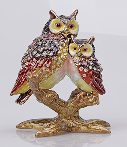 Owl on a Branch Jeweled Pewter Trinket Box Bejeweled Bird Trinket Box (Brown)